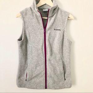 Columbia NWOT Gray Purple Zip Fleece Vest Sz M